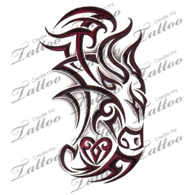 Marketplace Tattoo Tribal Taurus Bull with Heart #4475 | CreateMyTattoo.com
