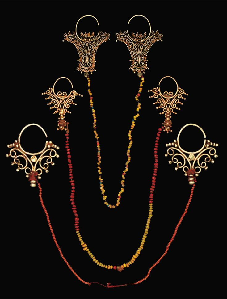 Indonesia ~ Tanimbar, Southeast Maluku | Pairs of openwork filigree earrings ~ 'kmwene' ~ gold and beads | The strand of glass beads was worn behind the neck | 18th - 19th century | Source: 'Gold Jewellery of the Indonesian Archipelago', page 79