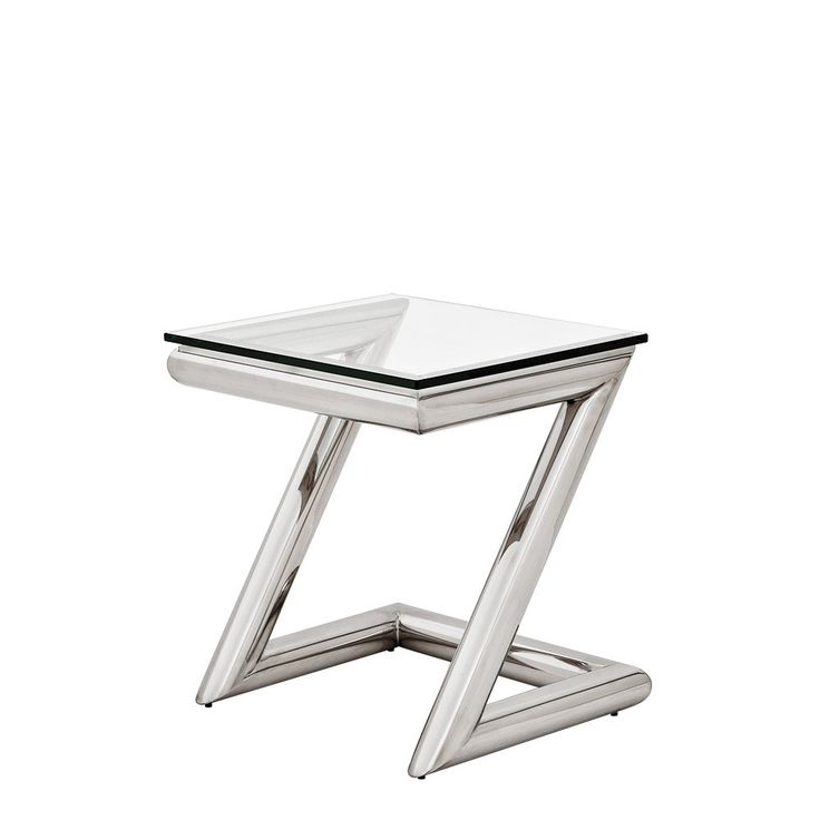 Eichholtz+Side+Table+Z+-+Made+from+polished+stainless+steel+with+a+clear+glass+top+this+Eichholtz+side+table+looks+fabulous+when+positioned+in+lounges+next+to+sofas+and+armchairs,+or+even+used+in+bedrooms+as+a+stylish+nightstand. Each+side+table+has+a+modern+zig-zag+steel+frame. Add+some+Eichholtz+luxury+to+your+home+interior+with+the+Eichholtz+Z+side+table. Matching+Console+table,+coffee+table+and+desk+also+available.