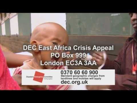 East Africa Crisis Appeal. Over 10 million people were affected by drought and famine in parts of East Africa in 2011. The DEC launched this appeal to provide funding for urgent emergency aid by our member agencies. By the close of the appeal it had raised  75 million pounds. Find out more about the appeal: http://www.dec.org.uk/appeals/east-africa-crisis-appeal