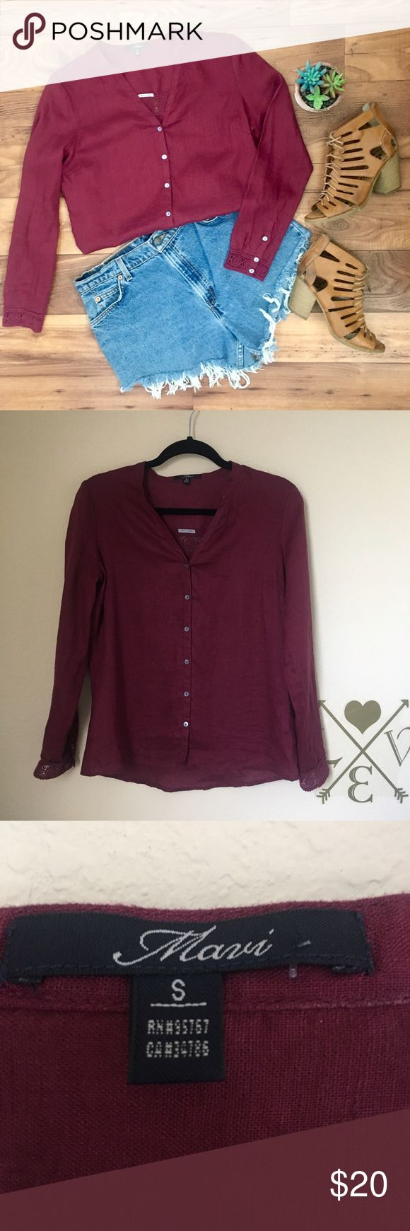Burgundy linen top by mavi NWOT Perfect summer top made with a breathable and light weight fabric. 100% linen. In excellent condition. Pair with jean shorts or throw over a bikini and hit the beach. Beautiful details in the crochet and buttons. Remember to bundle and save!! Mavi Tops Button Down Shirts