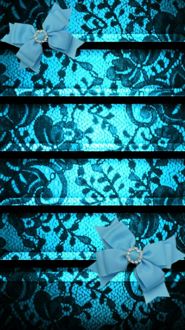 Blue lace with bows shelf background wallpaper iphone