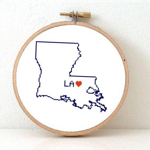LOUISIANA Map Cross Stitch Pattern. Louisiana art by koekoek