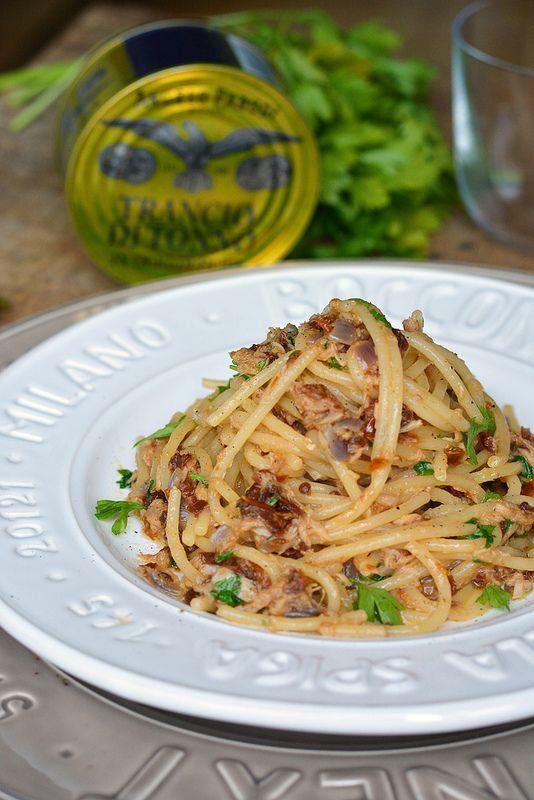 Italian Food ~ #food #Italian #italianfood #ricette #recipes ~  Italian Spicy spaghetti with tuna and dried tomatoes