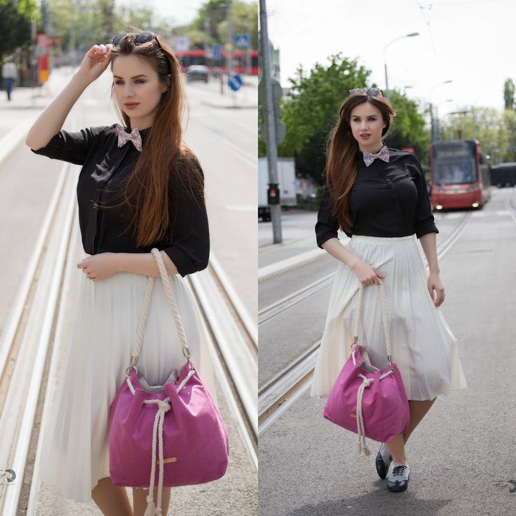 Handmade pink handbag and bow tie by Blubery.sk :)  Black shirt with white skirt, my lovely outfit for curvy pare shaped body.