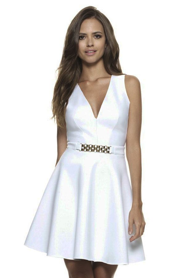 White Celeb Skater Dress with Gold Chain Trim