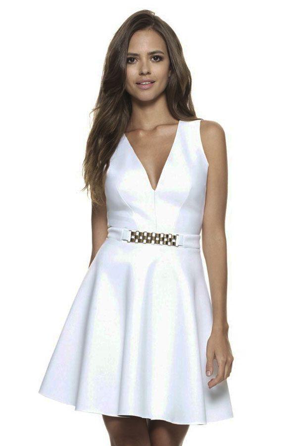 White Celeb Skater Dress with Gold Chain Trim