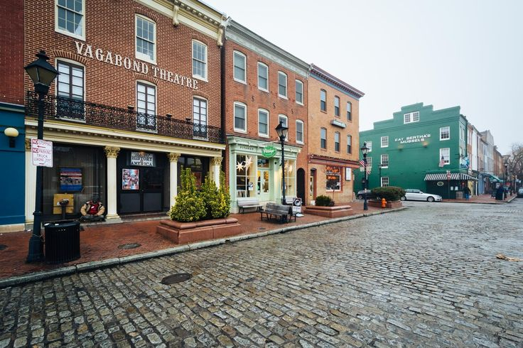 Buildings at Broadway Square in Fells Point, Baltimore, Maryland.