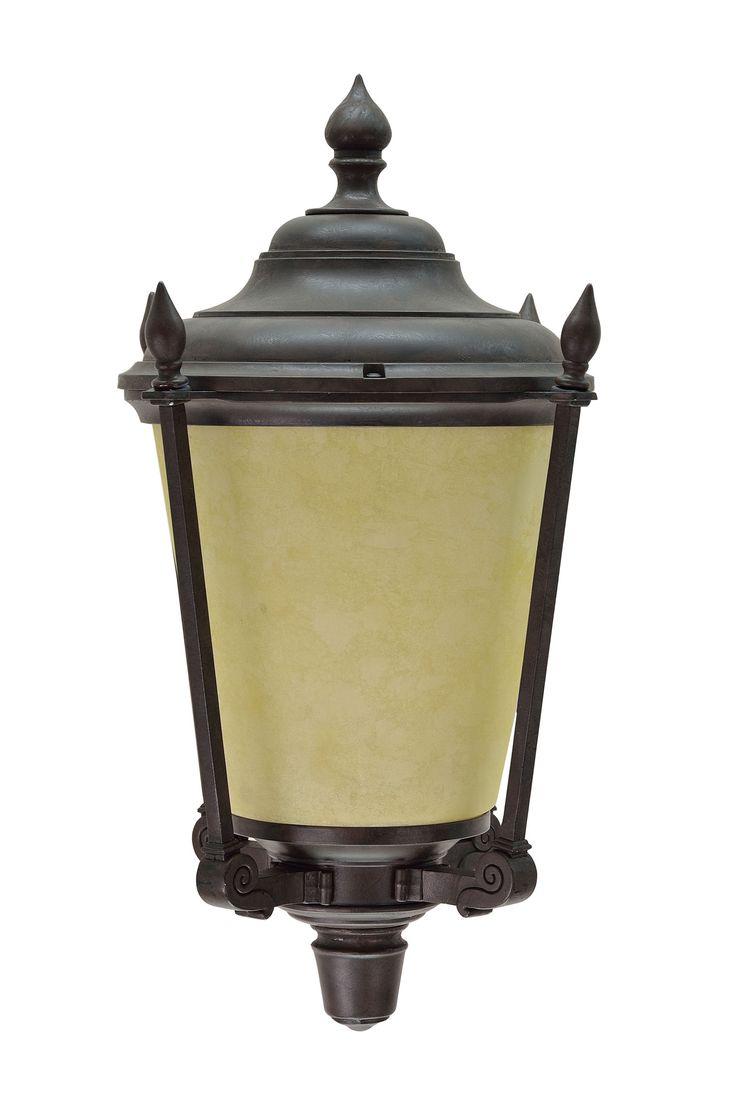 "# 60006 1 Light Medium Outdoor Wall Light Fixture, Dusk to Dawn Sensor, Transitional Design, in Antique Bronze with Amber Glass, 14 1/4"" High"