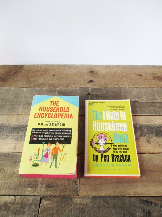 Pair of Mid-Century Housekeeping Books - 'The I Hate to House Keep Book' and 'The Household Encyclopedia', Retro Housewarming gift!