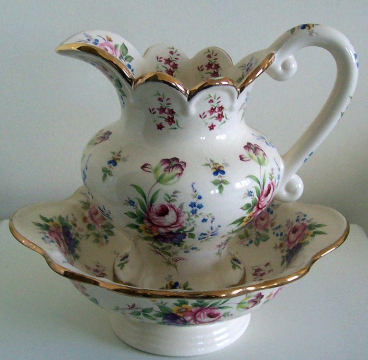 24 best antique basin pitcher and bowl sets images on pinterest water pitchers bowl set and. Black Bedroom Furniture Sets. Home Design Ideas