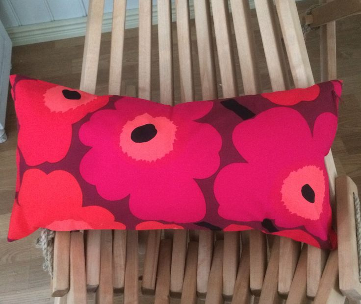 Red on brown Unikko pillow cushion case, 30x60cm, 12″ x 24″, Marimekko, Finland, cotton fabric
