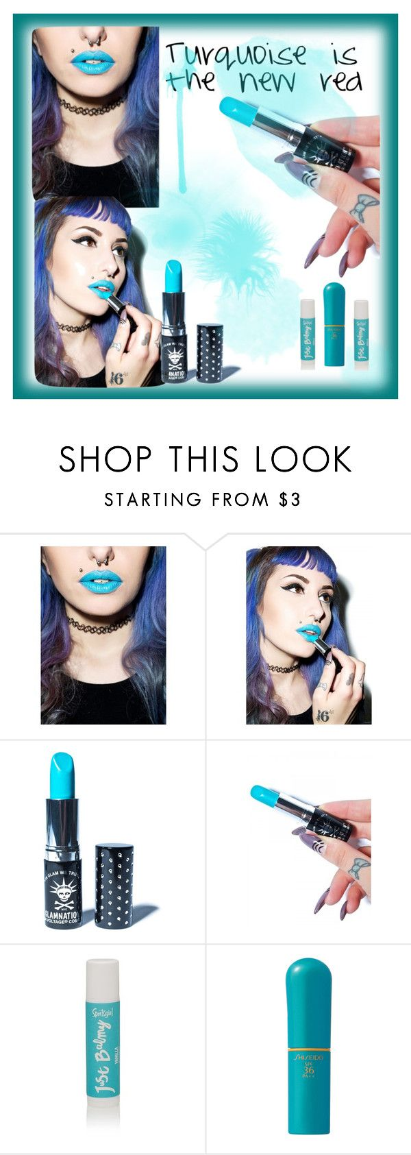 """Turquoise is the new red"" by mooninthemist ❤ liked on Polyvore featuring beauty, Manic Panic, Shiseido, LIPSTICK, turquoise and statementlip"