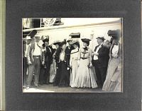 Photo Album presented to Miss Alice Roosevelt by The San Francisco Call, 1905. Miss Roosevelt with fellow travellers aboard steamship Manchuria