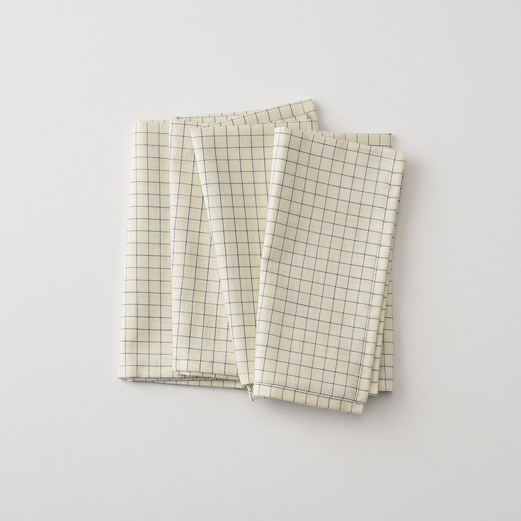Blue Graph Table Napkin | Sewn by hand in our Portland factory, these charming table napkins have an old-school blue-grid pattern that provides a timeless look for your table. High-quality and limited edition, these are made from vintage end lot fabric.