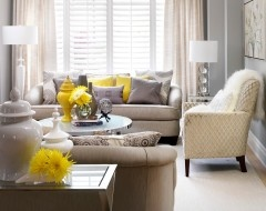 Superb Unexpected Colors: Linen, Grey And Lemon Yellow Contemporary Living Room By  Jennifer Brouwer ( Part 12