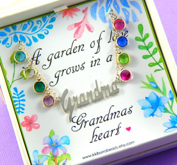 Gift For Grandma Grandmother's Necklace by Kikiburrabeads on Etsy