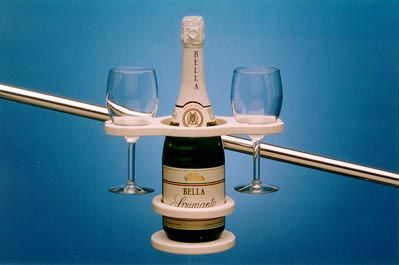 Gimbaled wine bottle and glass holder. Must Have!