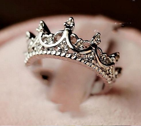 "Elegant Queen Temperament Silver Crown Clear Crystals Lady Rings ""FREE SHIPPING"""