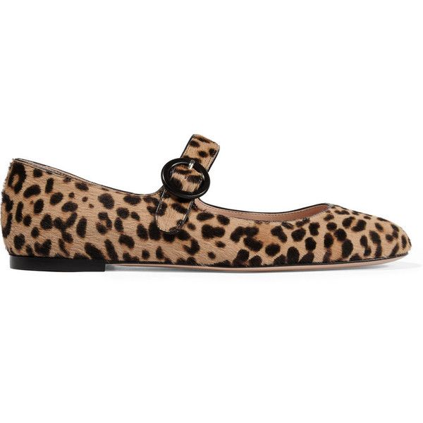 Gianvito Rossi Leopard-print calf hair ballet flats ($820) ❤ liked on Polyvore featuring shoes, flats, animal print, leopard flats, leopard ballerina flats, animal print flats, ballerina flats and ballet pumps