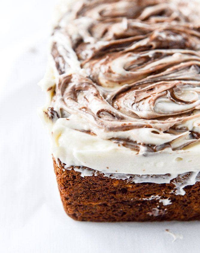 carrot cake cake with nutella swirled cream cheese frosting