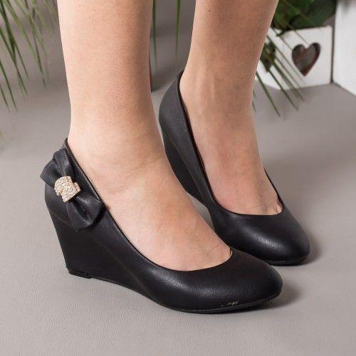 Promotie • Pantofi dama Catherine negri cu talpa ortopedica