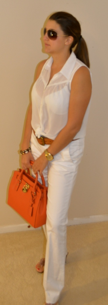 www.socialcatalog.org    Banana Republic pants, Michael Kors purse and shades, guess watch