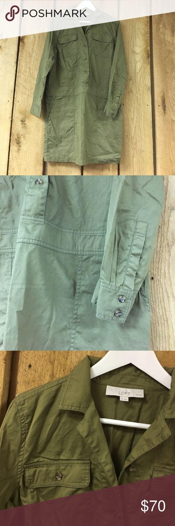 LOFT Petite shirt dress Olive green - 100% cotton - nice light material for spring - excellent condition LOFT Dresses Long Sleeve