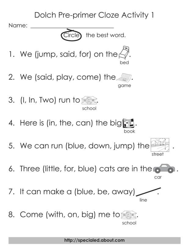 12 Worksheets for Dolch High Frequency Words: Free Printable Cloze Activities for Dolch High Frequency Words