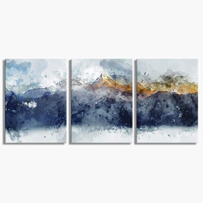Amazon Com Abstract Canvas Wall Art For Living Room Modern Navy Blue Abstract Mountains Print Poster Pict Wall Canvas Abstract Canvas Wall Art Bedroom Artwork