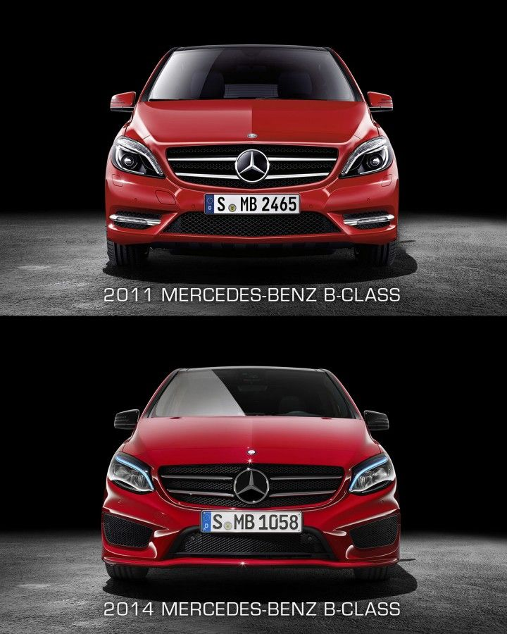 Mercedes-Benz B-Class - Front view design comparison