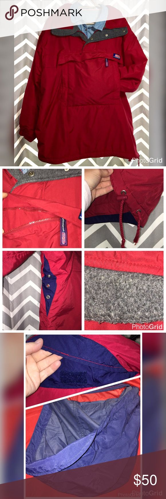 American Eagle Pullover Red Winter Jacket Unisex This is a Mens Medium that I wore for a 🏂 or just outdoor blowing the snow jacket. I was a Woman's XXL or Plus size 18/20. This is well taken care of but does have pilling on the grey fleece part. It does NOT impact the performance of the jacket. It kept me cozy warm during Minnesota winters. Please see pics for all the features. American Eagle Outfitters Jackets & Coats Ski & Snowboard