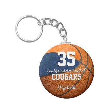 girly blaue orange Schulteamfarben des Basketballs Standard Runder Schlüsselanhänger | Zazzle   – girly things