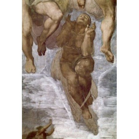 The Last Judgment by Michelangelo Buonarroti fresco detail 1475-1564 Vatican Sistine Chapel Canvas Art - Michelangelo Buonarroti (24 x 36)