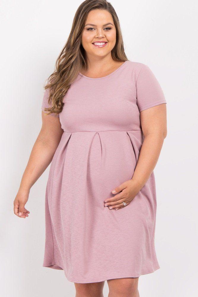 960fa5502d Mauve Basic Pleated Skirt Plus Maternity Dress A solid short sleeve plus maternity  dress. Pleated skirt. Rounded neckline.