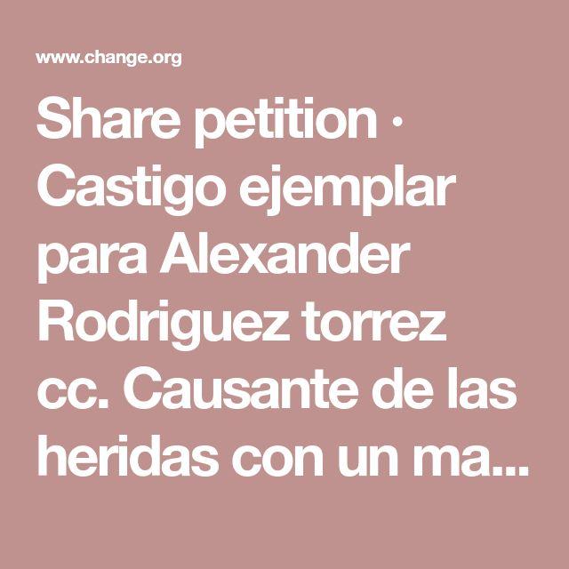 Share petition · Castigo ejemplar para Alexander Rodriguez torrez cc. Causante de las heridas con un machete a este perro. · Change.org