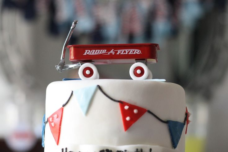 Red Wagon 1st Birthday Party Cake Topper