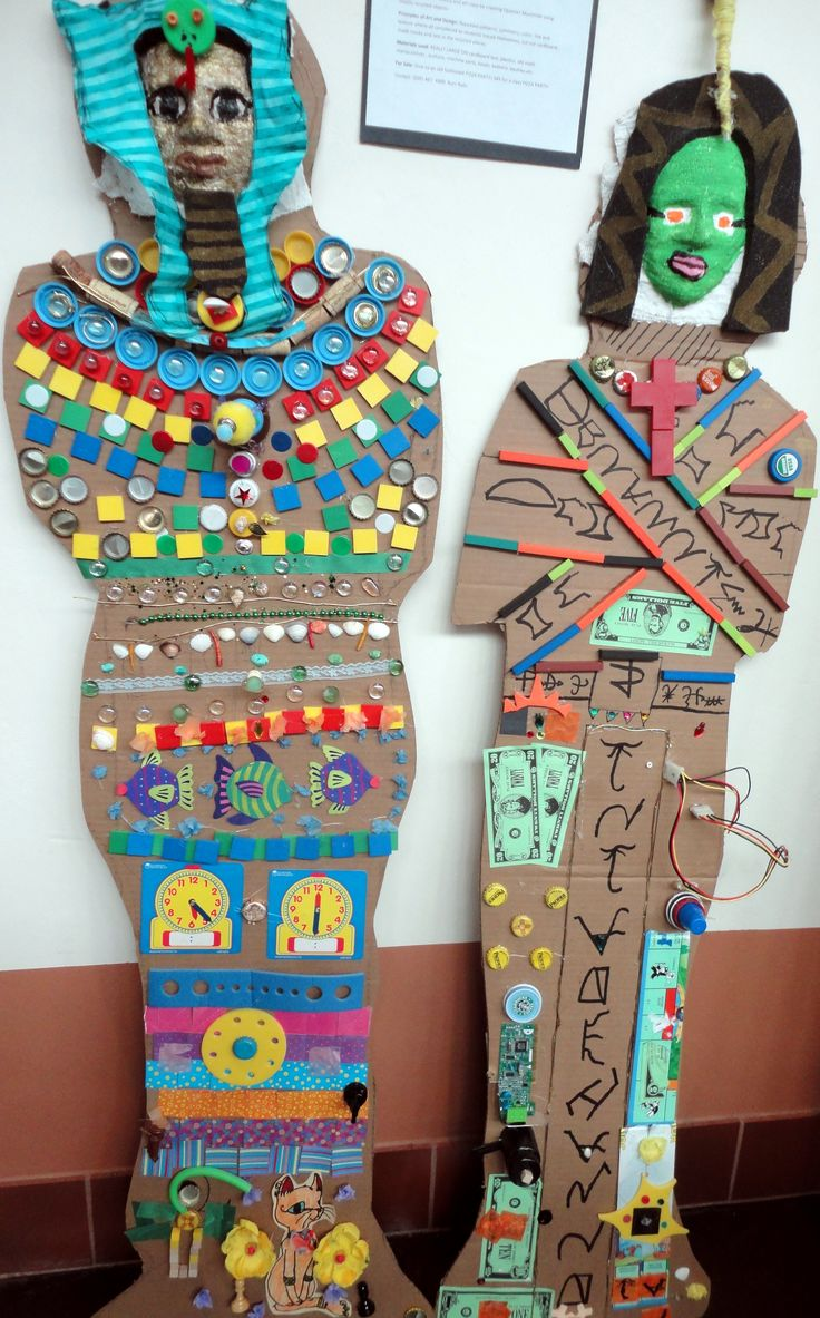 Recycled Egyptian Mummies - El Dorado Community School, 6th Grade. Teacher Roni Rohr. #Recycle Santa Fe Art Festival