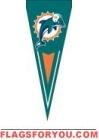 "Dolphins Yard Pennants 34"" x 14"""
