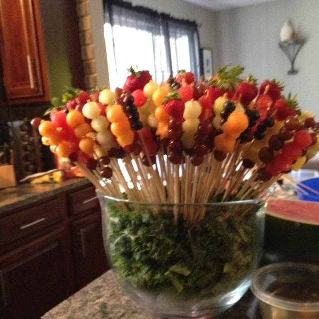 Fruit arrangement for bridal shower.