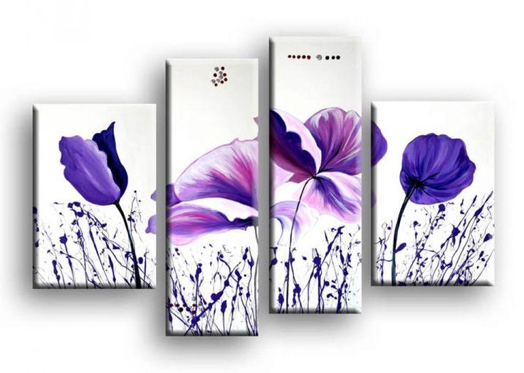 Tablou pictat manual Flori violet 4 paneluri set decorativ pentru living dormitor birou