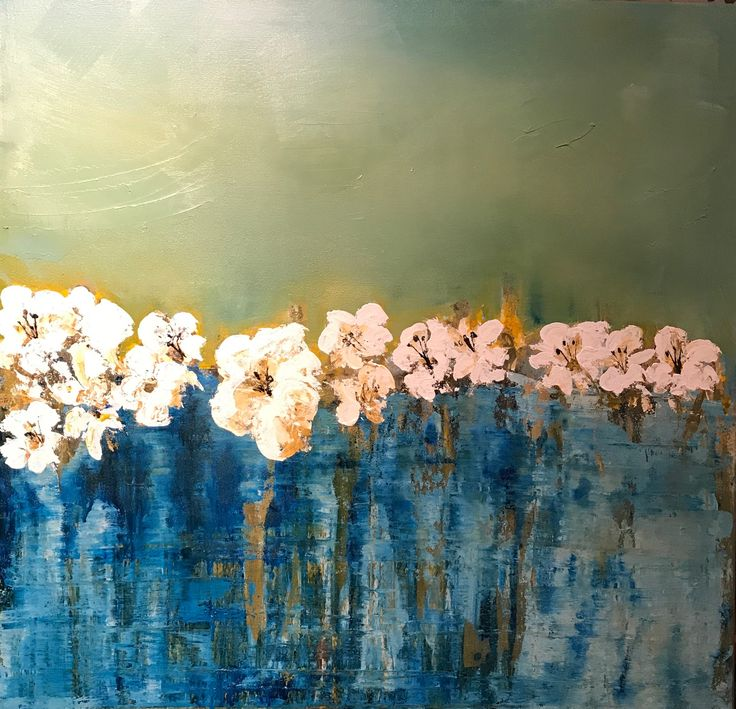 Floating blooms .80x.80 cm canvas