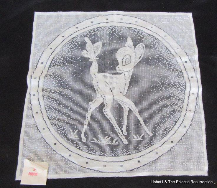 """Vintage Lace Panel Bambi Ivory 15"""" Square Mid-Century Era"""