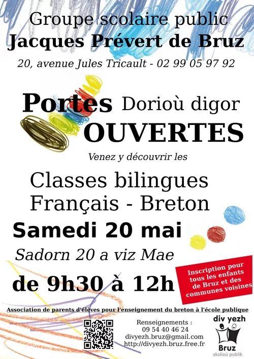 Venez découvrir les classes bilingues à l'école Jacques Prévert de Bruz Cette matinée sera l'occasion de vous présenter le fonctionnement de la filière et d'échanger avec les enseignants bilingues ainsi qu'avec l'association de parents d'élèves Div Yezh Bruz .  Plus de 120 élèves, 5 classes (maternelle au CM2).  La filière bilingue Français-breton est ouverte à tous les enfants de Bruz, et aux enfants des autres communes - pas de carte scolaire.
