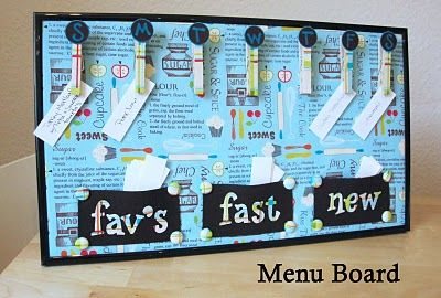 "Meal Planning Board - divided into 3 categories; ""favorites"", ""fast"", ""new"""