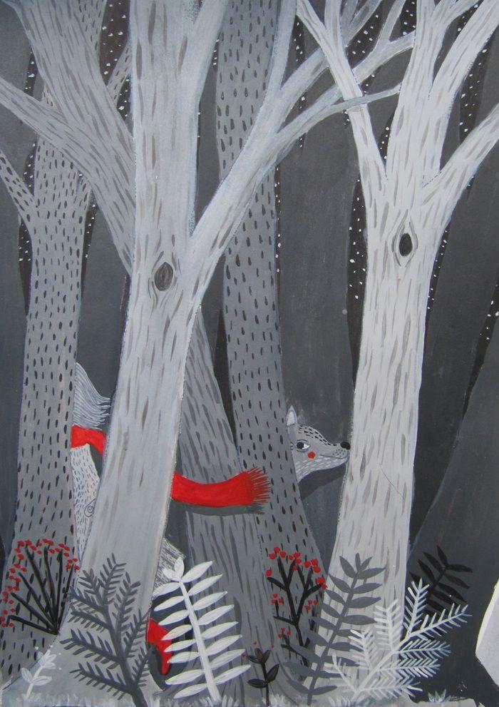 Иллюстрация к сказке о Красной Шапочке.