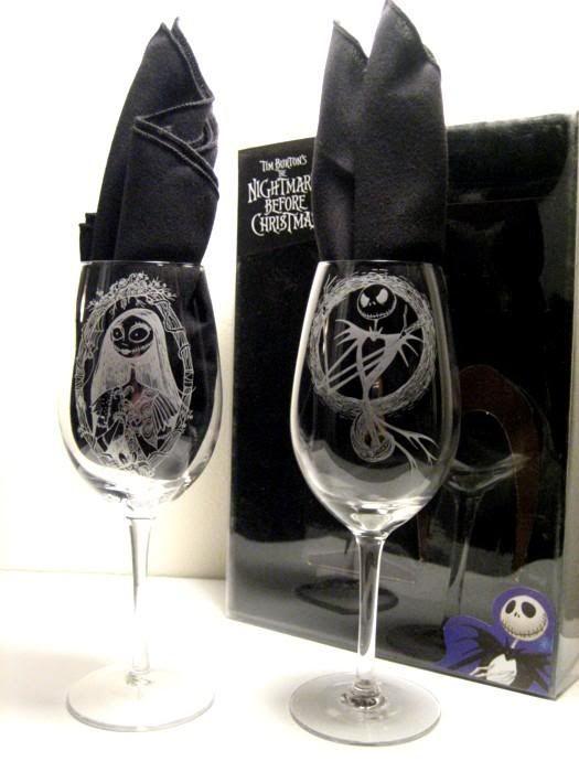 Jack and Sally wine glasses
