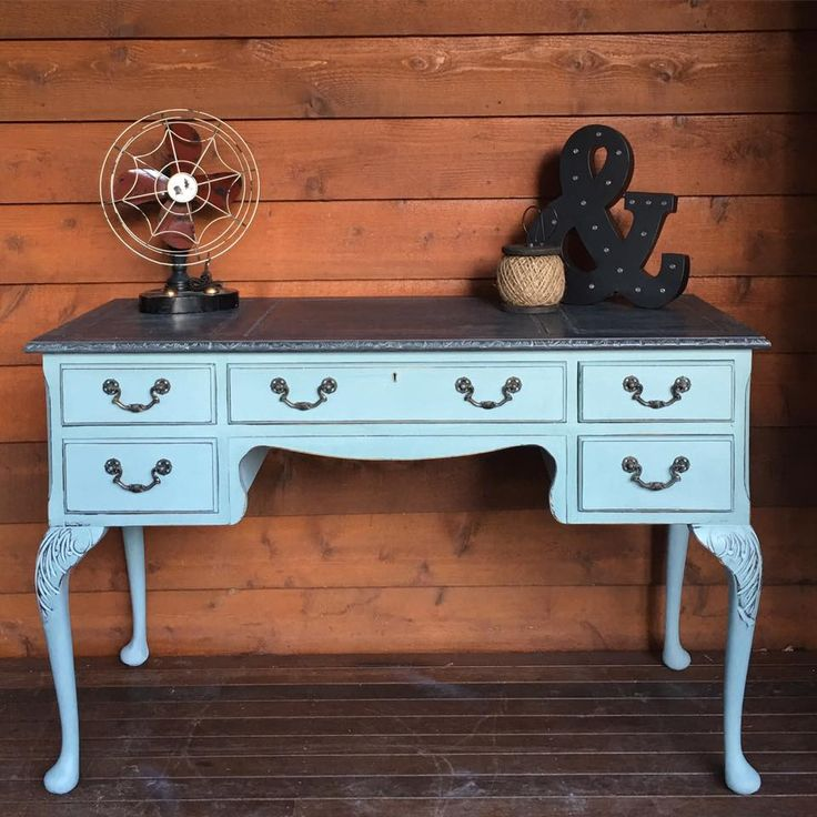 Gorgeous antique carved desk Painted in Annie Sloan Duck Egg and Graphite top for sale $265 NSW South Coast  Australia