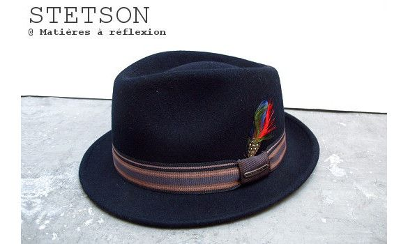 6201a0968b6 Stetson chapeau femme Oviedo bleu marine  stetson  hat  feather  trilby   porkpie