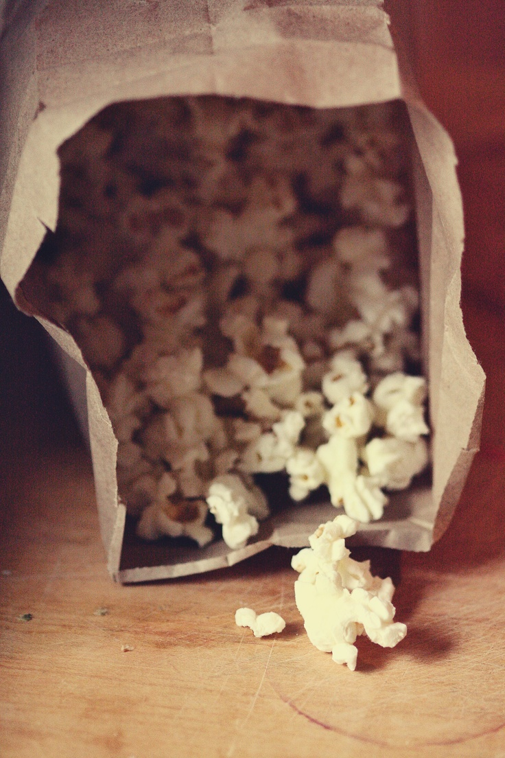 Homemade Microwave Popcorn-1/4 c popcorn kernels to a paper lunch bag, fold the top of the bag down 2-3 times. Microwave for 2-2 1/2 minutes.  Make SURE to stand by your microwave & watch/listen.  Put in a bowl & add whatever toppings you'd like.  (If adding butter or margarine, melt it prior to popping the corn so it has a little time to cool down.  When pouring on the popcorn, hold the cup or bowl you melted it in high above the popcorn bowl so that you can pour it in a small stream.)